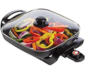 #1 Deep Dish Electric Skillet Ceramic Non-Stick Surface Counter-top Large Frying Pan With Lid
