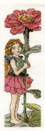 DMC Cross Stitch Kit - Flower Fairies - The Zinnia Fairy Bookmark (Dmc Flower)