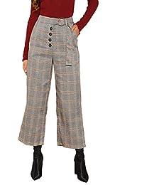 Verdusa - Pantalón Largo para Mujer (piernas Anchas, con Botones, Cintura Alta)