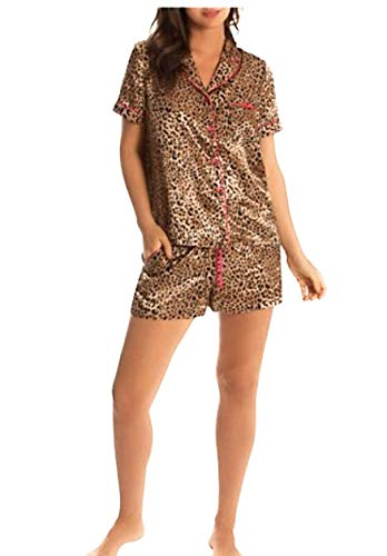 In Bloom by Jonquil Women's Satin Cheetah Shorts Set, Small