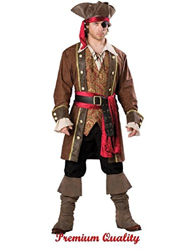 InCharacter Costumes Men's Captain Skullduggery Pirate Costume, Brown, Large -