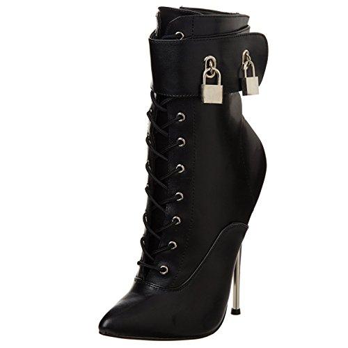 Summitfashions Womens Black High Heel Boots 6 1/4 Inch Brass Heels Small Padlocks Fetish Heels Size: 12