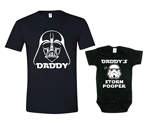 Texas Tees Daddy Darth Vader Shirts for Dad and Son, Storm Pooper Shirt,Darth & Storm Pooper - Black,Mens (XX-Large) & 0-3 Month (Shirts Tee Daddy)