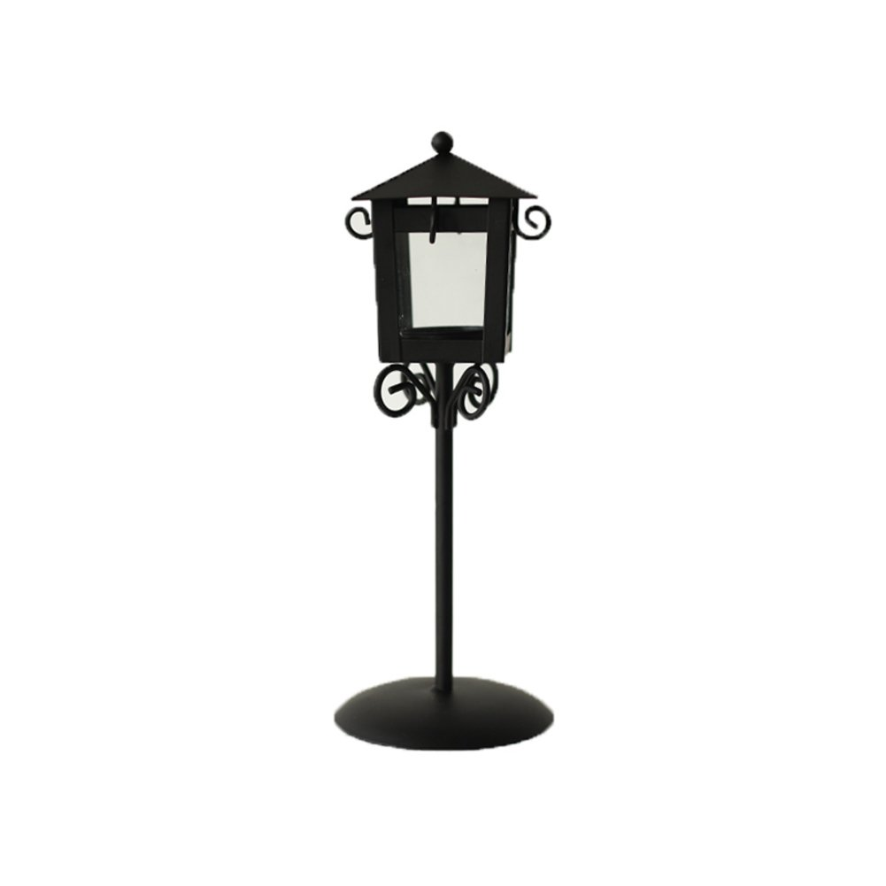 European-Style Wrought-Iron Pavilion candlesticks Restaurant Lantern Small Street Creative Jewelry Glass Candle Ornaments-B