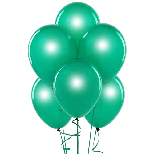 Metallic Emerald Green 12 Inch Pearlescent Thickened Latex Balloons, Pack of 24, Pearlized Premium Helium Quality for Wedding Bridal Baby Shower Birthday Party Decorations Supplies Ballon Thinken