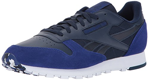 Reebok Uomo Cl In Pelle Mo Fashion Sneaker Collegiate Navy / Deep Cobalt / White / Skull Grey