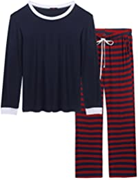 Women Men Christmas Winter Pajamas Long Sleeve and Stripe Bottoms Cotton PJ Set