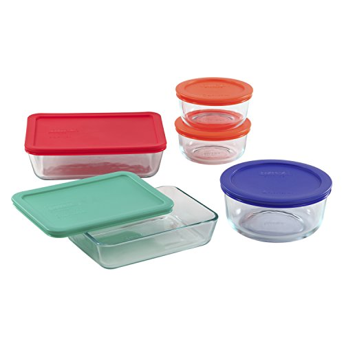 Pyrex Simply Store Glass Meal Prep Food Container Set with Multi-Colored Lids (10-Piece) (Pyrex 10 Piece Storage Set With Lid)