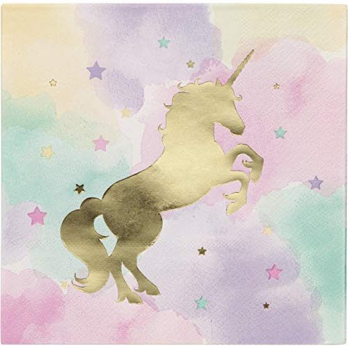 Creative Converting 329411 Unicorn Sparkle Luncheon Napkins Party Supplies, 6.5