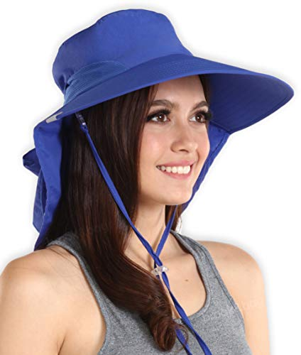 UV Protection Sun Hat with Neck Flap & Chin Strap - Packable & Stylish Wide Brim Summer Hat for Women. Perfect for Beach Travels, Hiking & Outdoor Adventures. Moisture Wicking & Breathable Mesh