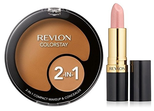 Revlon ColorStay 2-In-1 Compact Makeup and Concealer - Caramel and Super Lustrous Lipstick - Luminous Pink Bundle by Cosmetics by Revlon