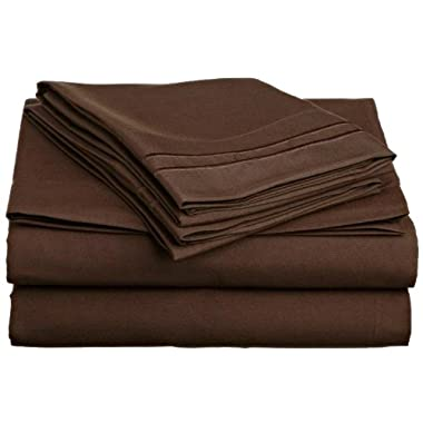 Elegant Comfort ® 1500 Thread Count WRINKLE RESISTANT ULTRA SOFT LUXURIOUS 4-Piece Bed Sheet Set 100 % HypoAllergenic, Deep Pocket Up to 16 - Many Size and Colors , Queen, Chocolate Brown