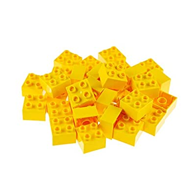 Strictly Briks Big Briks 32 Piece Yellow 2x2 Building Brick Creative Play Set - 100% Compatible with All Large Block and Brick Brands - Ages 3 and Up: Toys & Games