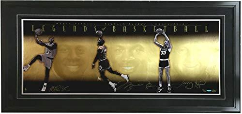 Michael Jordan Larry Bird Magic Johnson signed photo framed auto UDA COA /500