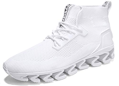 TSIODFO Fashion Running Shoes for Men Flyknit mesh Breathable comffort Springblade Athletic Walking Sneakers Man Gym Workout Jogging Trail Tennis Shoes All White Size 11 (8827-White-45)