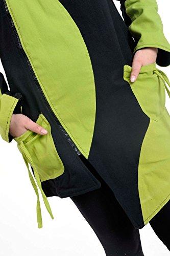 Flox-Cazadora, diseño étnico, color negro y verde vert pomme et noir