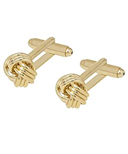 Shining Jewel 24K Gold Plated Classic Knot Design Cufflinks for Men (SJ_7034)