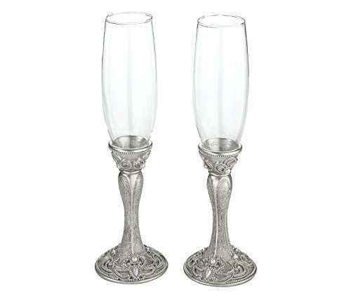 Lillian Rose Elegant Vintage Silver Wedding Toasting Glasses ()