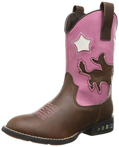 Roper Star Rider R Toe Light Up Cowgirl Boot (Toddler/Little Kid), Brown, 6 M US Toddler ()