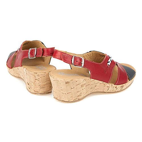Fly Flot Mid-Heel Cork Wedge Sandal with Peep Toe 126 558 - Red-White-Navy Size 7 4rx0Dfj8e