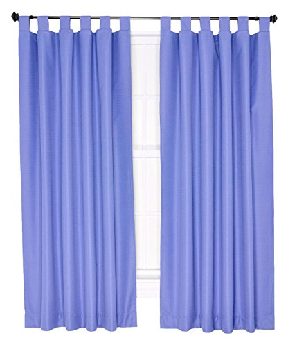 Ellis Curtain Crosby Thermal Insulated 80 by 84-Inch Tab Top Foamback Curtains, (Blue Pleated Drapes)