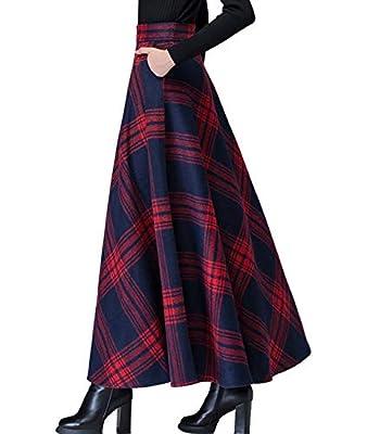 Femirah Women's Flared Plaid A-Line Winter Wool Blend Maxi Long Skirt