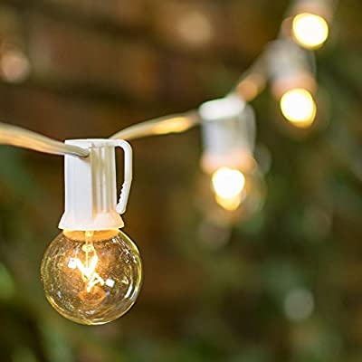 White Wire Globe String Light, Outdoor/Indoor, Plug In, 50 Clear 1.5 inch G40 Bulbs, 50 Feet White Wire, End to End Connectable, Wedding, Patio Bistro Strand, Incandescent, (Clear)