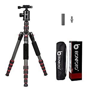 """BONFOTO B690C Lightweight Carbon Fiber Portable Travel Camera Tripod with 360 Degree Ball Head,1/4"""" Quick Release Plate and Carry Bag for Canon Nikon Sony Samsung Fuji Olympus DSLR Cameras"""