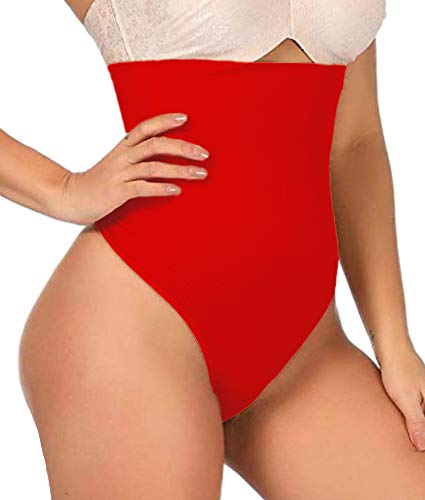 - ShaperQueen 102 Best Womens Waist Cincher Body Shaper Trimmer Trainer Slimmer Girdle Faja Bodysuit Short Slip Tummy Belly Weighloss Control Brief Corset Plus Size Underwear Shapewear Thong (S, Red)