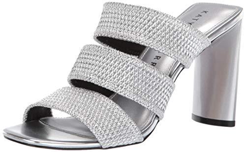Katy Perry Women's The CALI-Metallic Scrunchie Heeled Sandal, Silver, 8 M Medium US
