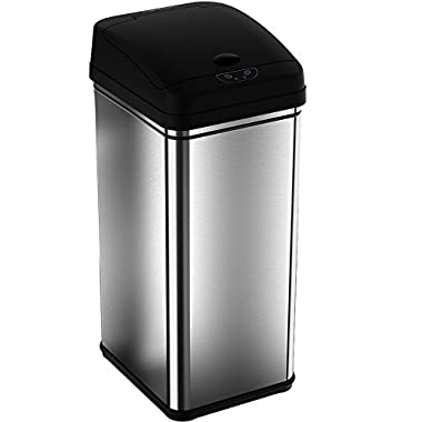 iTouchless Deodorizer Sensor Can, Touch-Free Automatic Trash Can, Stainless Steel, 49 Liter / 13 Gallon