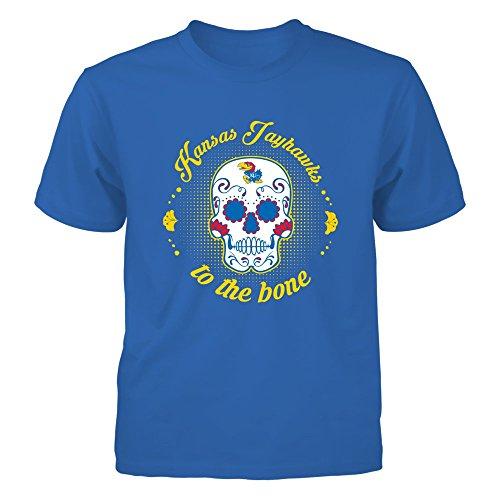 Kansas Jayhawks - to The Bone Sugar Skull - Gildan Youth T-Shirt - Officially Licensed Fashion Sports Apparel
