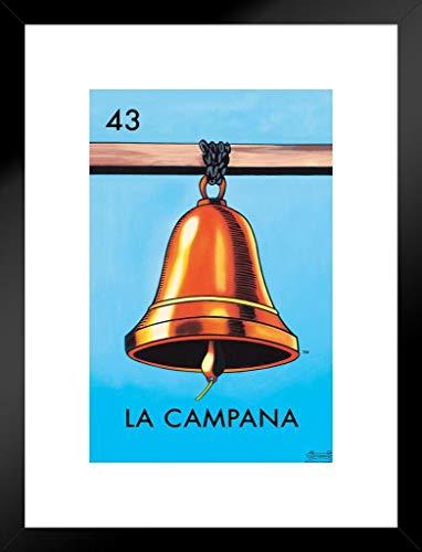 (43 La Campana Bell Loteria Card Mexican Bingo Lottery Matted Framed Wall Art Print 20x26 inch)