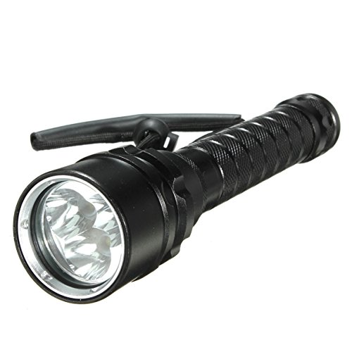 1 Set Awe-Inspiring Unique 3x LED 100m Diving Flashlight 6000 Lumen LEDs Flashlights Coast Bright Waterproof Camping Military Police Tactical Holster Holder Aluminum Scuba Lamp Torch Color Black