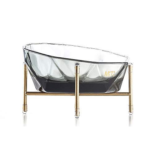 Fighrh Pet Glass Material MiTi Crystal Bowl Transparent Design Glass Thick Feeling Cat Dog Water Bowl Bowl Rice Bowl Height Adjustable Anti-Skid Bracket Design