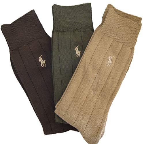 Polo Ralph Lauren Mens Dress Socks, 3 Pair (10-13, Assorted)