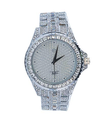 - Men's Silver Hip Hop Watch with White Crystal Dial | Japanese-Quartz | Casual Bling | Adjustable Sizing for All Wrists