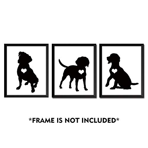 SUMGAR Black and White Wall Art Prints Bedroom Animal Cute Posters Dog Artwork 8x10 Unframed Photos Puppy Gifts,Set of 3 Black White Dog Prints