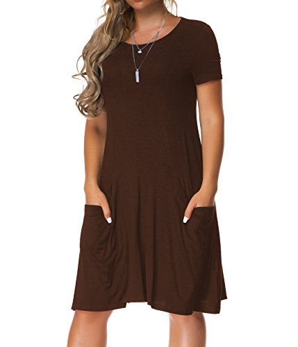 Cute Brown Dress (VERABENDI Women's Short Sleeve Dress Casual Loose Pocket T-Shirt Dress Coffee S)