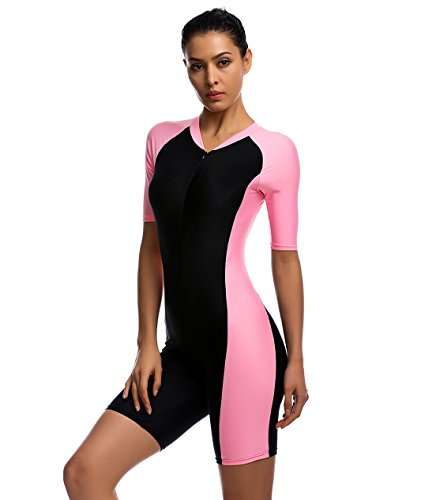 Belloo Womens One Piece Short-sleeve surfing suit Sun Protection, Light Pink, XL