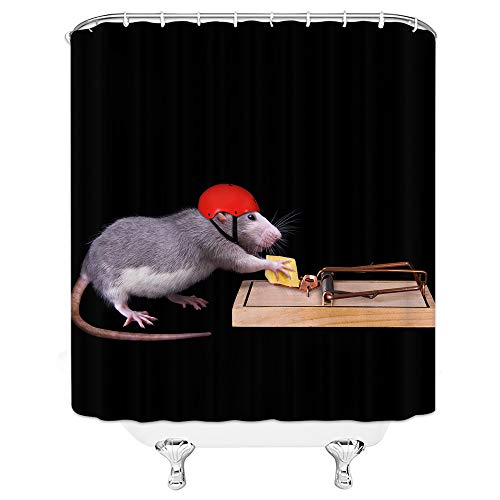 Shower Curtain Animal Theme Rat in Red Hat Holds Food On Mousetrap Black 70 X 70 Inch Waterproof Polyester Fabric Bathroom Accessories Hanging - Clothes Rod Rat