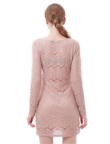 PU&PU Robe Aux femmes Moulante Simple,Couleur Pleine Col Arrondi Au dessus du genou Polyester , pink-one-size , pink-one-size