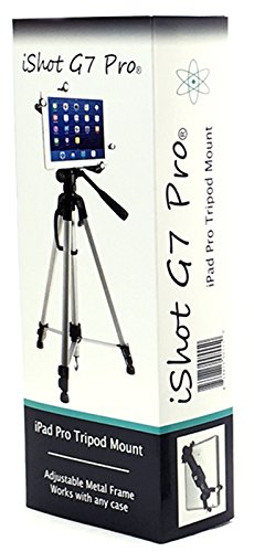 iShot G7 Pro iPad Pro 12.9/9.7/10.5 ALL METAL Tripod Mount Adapter Holder + FREE Bluetooth Camera Shutter/Video Remote - Works with Cases - Compatible with All iPad Gen. & Other 7-13'' Tablets by iShot Pro