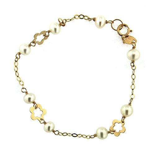 18K Yellow Gold Cultivated Pearls and Flowers Bracelet 6 inch by Amalia