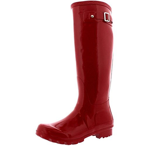 Gloss Womens Shoe Red (Polar Products Womens Original Tall Gloss Winter Waterproof Wellies Rain Wellington Boots - 9 - DRE40 BL0039)