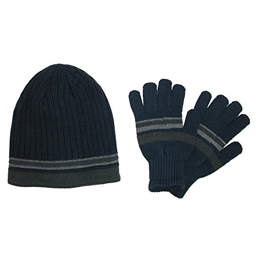 CTM Men's Knit Striped Beanie and Gloves Winter Set, Blue ()
