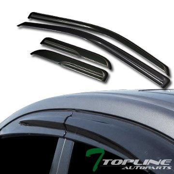 Topline Autopart MU Style Smoke Window Visors Deflector Vent Shade Guard 4 Pieces For 04-14 Ford F150 Super (Extended) Cab ()