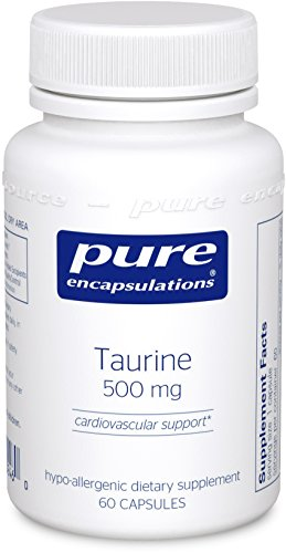 Pure Encapsulations - Taurine 500 mg - Hypoallergenic Supplement to Support Brain, Heart, Gallbladder, Eyes, and Vascular System* - 60 (500 Mg Supplement)