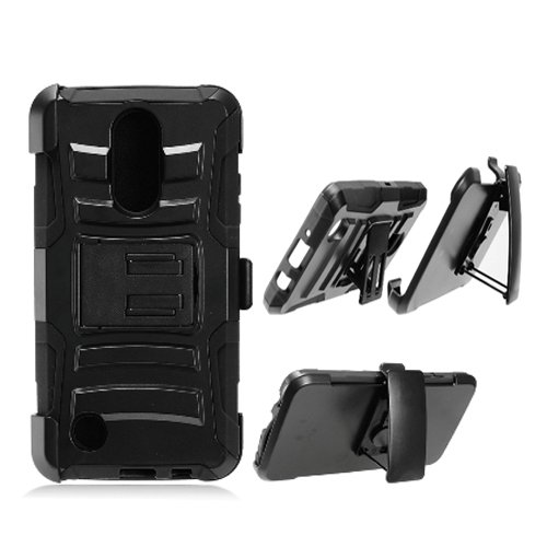 Phone Case for Tracfone LG Rebel-3 L158VL, L157BL (Straight Talk) Rugged  Cover Kickstand Combo Holster Belt Clip (Holster-Black Edge Case)