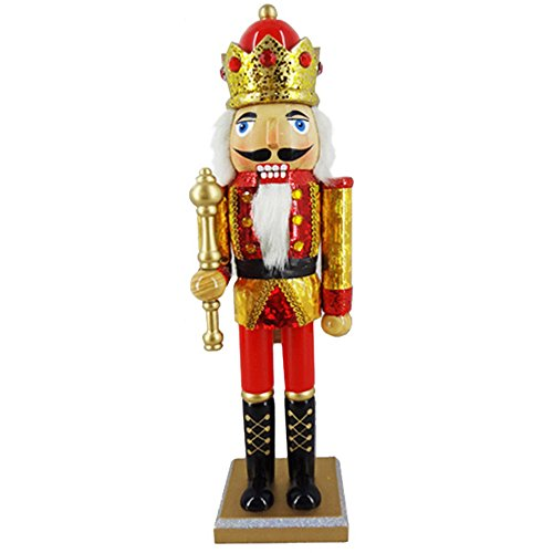 - Christmas Holiday Wooden Nutcracker Figure Soldier King with Traditional Red and Gold Hologram Uniform Jacket with Red Crown and Sparkle Rhinestone Details Details Large, 15 Inch